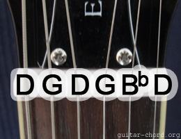 guitar with open G minor tuning